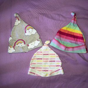 3 BABY GIRL HATS 0-6 MONTHS